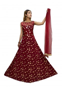 Embroidered Polyester Stitched Flared/A-line Gown (Red)