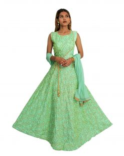 Embroidered Silk Blend Stitched Flared/A-line Gown (Green)