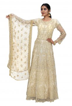 Embroidered Net Stitched Flared/A-line Gown (Gold)
