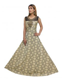 Embroidered Polyester Stitched Flared/A-line Gown (Multicolor)