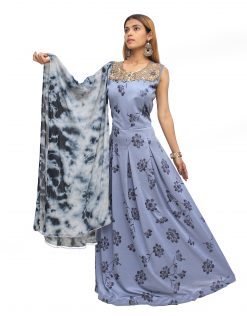 Floral Print Polyester Stitched Flared/A-line Gown (Grey)