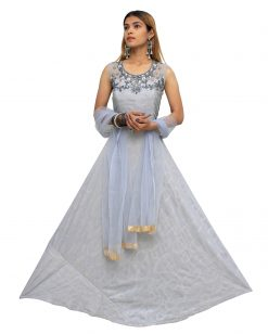 Embroidered Polyester Stitched Flared/A-line Gown (Grey)