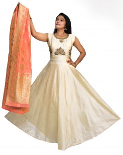 Poly Chanderi Stitched Flared/A-line Gown (Gold)