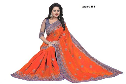 Office Wear Orange Coloured Saree