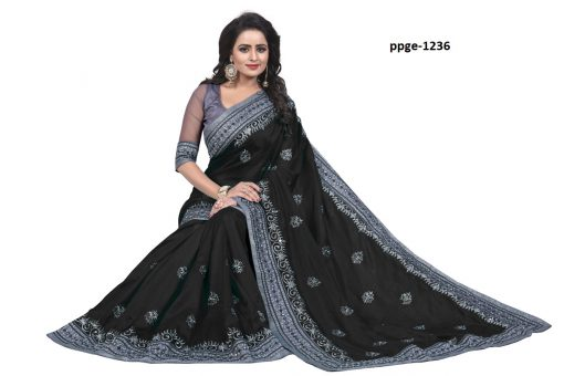 Daily Wear Black Coloured Saree
