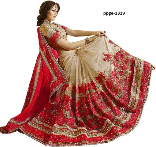 Fancy Red Coloured Saree