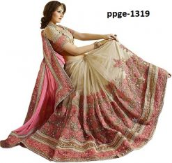 Designer Pink Coloured Saree