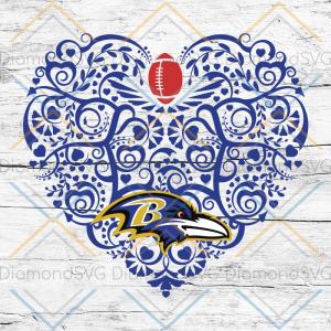 Baltimore Ravens, Heart SVG, NFL Svg, Football Svg, Cricut File, Svg,