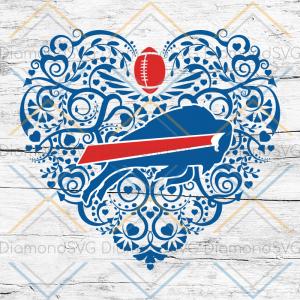 Buffalo Bills, Heart SVG, NFL Svg, Football Svg, Cricut File, Svg