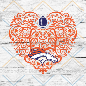 Denver Broncos, Heart SVG, NFL Svg, Football Svg, Cricut File, Svg