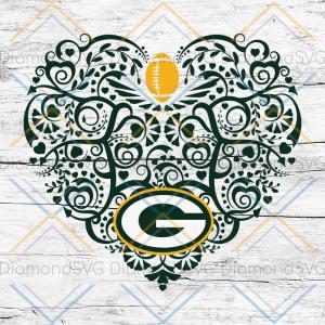 Green Bay Packers, Heart SVG, NFL Svg, Football Svg, Cricut File, Svg