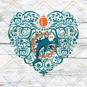 Miami Dolphins, Heart SVG, NFL Svg, Football Svg, Cricut File, Svg