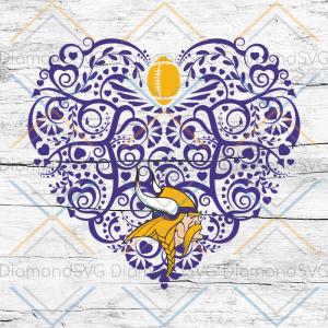Minnesota Vikings, Heart SVG, NFL Svg, Football Svg, Cricut File, Svg