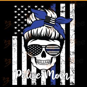 American Flag With Police Mom Skull Svg, Trending Svg, Police Mom