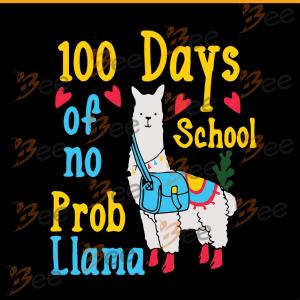 100 days of school no pro llama, prollama svg, pro llama shirt, Happy