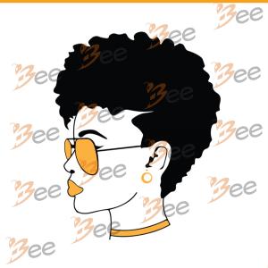 Afro girl wearing yellow sunglasses svg, black girl svg, black girl