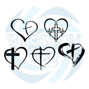 Cross Heart Jesus God Heart Love svg, Belief Svg
