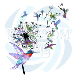 Dandelion And Hummingbird Svg, Flower Svg, Flower Svg, Hummingbird