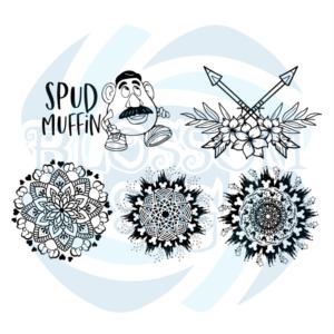 Spud Mufin Bundle Svg, Flower Svg, Mr. Potato Head Svg, Flower Icon