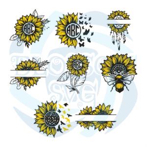 Sunflower Monograms Bundle Svg, Flower Svg, Sunflower Svg, Sunflower