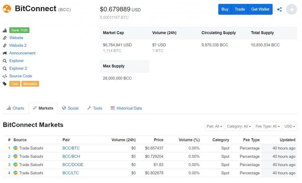 BitConnect vẫn chưa bị xoá khỏi Coinmarketcap