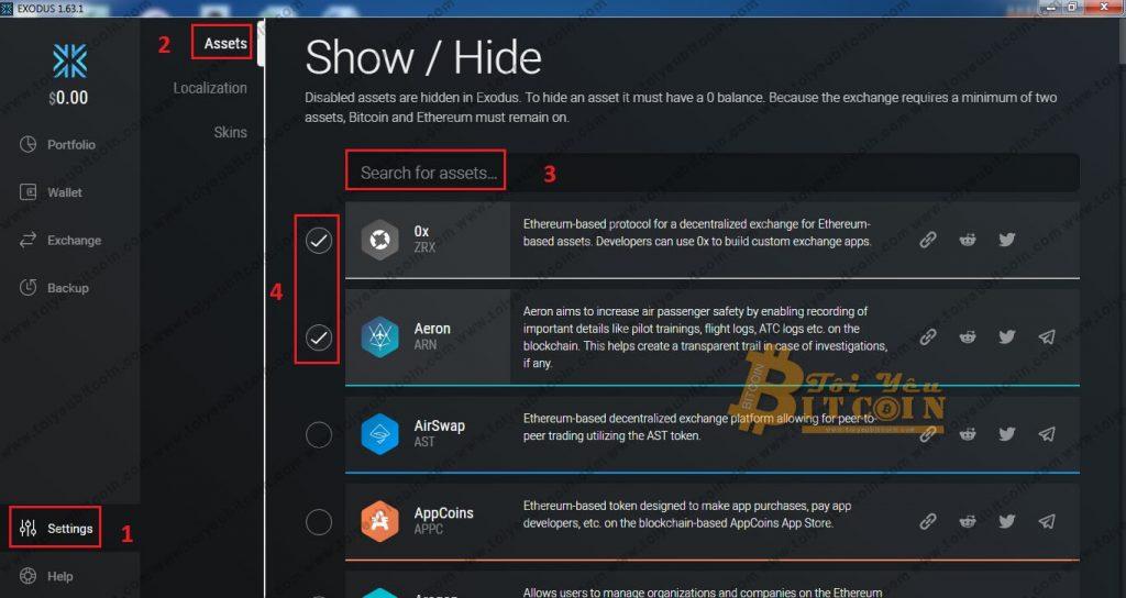 Cách add Coin và Token vào ví Exodus