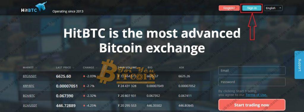 Đăng nhập vào HitBTC. Ảnh 1