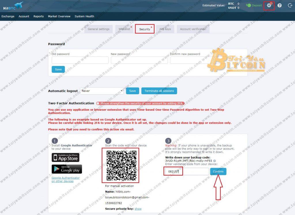 Bảo mật tài khoản HitBTC. Ảnh 1