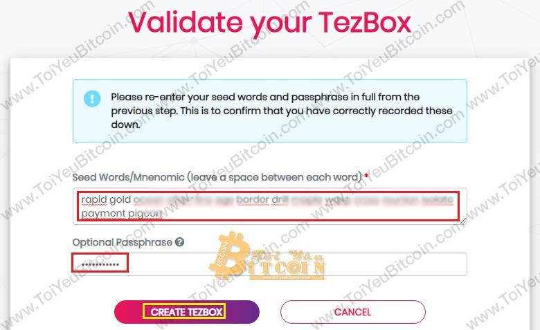 Tạo ví Tezos coin trên TezBox. Ảnh 4
