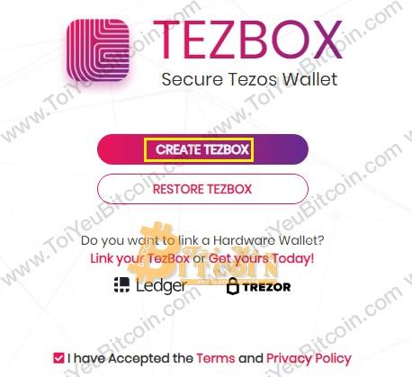 Tạo ví Tezos coin trên TezBox. Ảnh 2