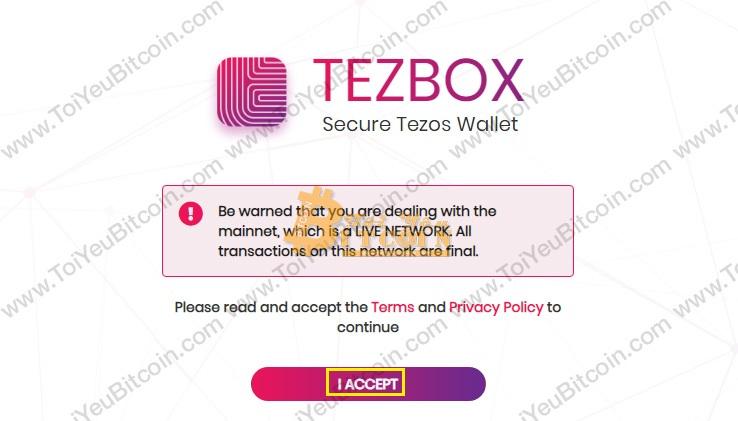 Tạo ví Tezos coin trên TezBox. Ảnh 1