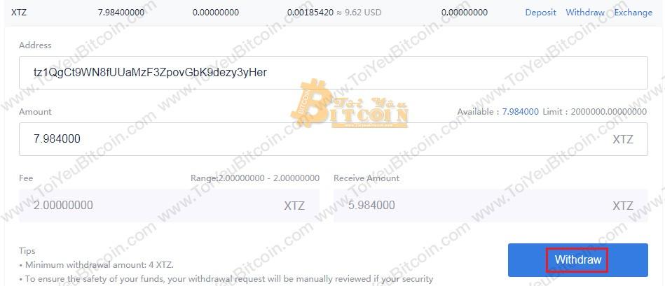 Cách nạp tiền XTZ coin vào ví TezBox. Ảnh 2