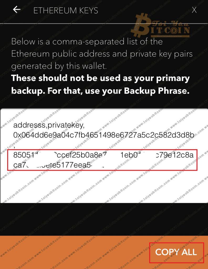 Cách lấy Private key trên ví JAXX. Ảnh 5