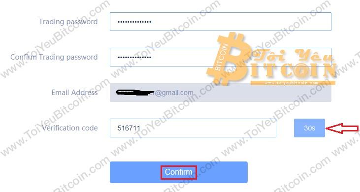 Thiết lập mật khẩu trading trên RightBTC. Ảnh 2