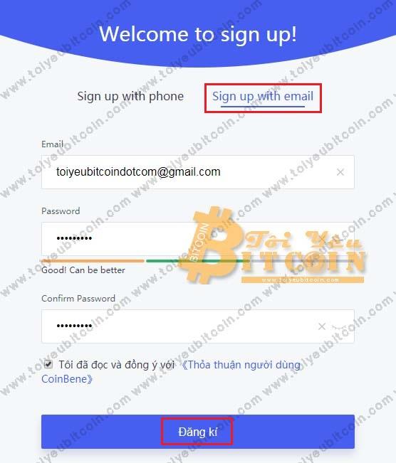 Đăng ký tạo tài khoản trên Coinbene. Ảnh 1