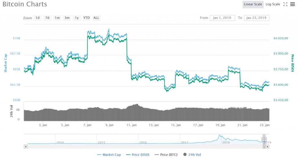 Giá Bitcoin trong gần một tháng đầu năm 2019 (Nguồn: CoinMarketCap).