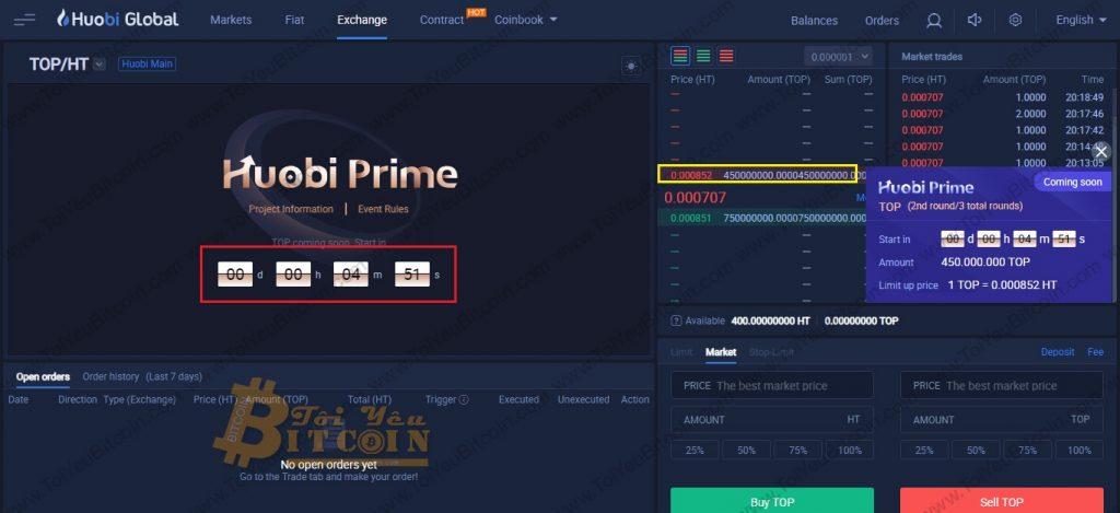 Cách mua token trên Huobi Prime. Ảnh 3
