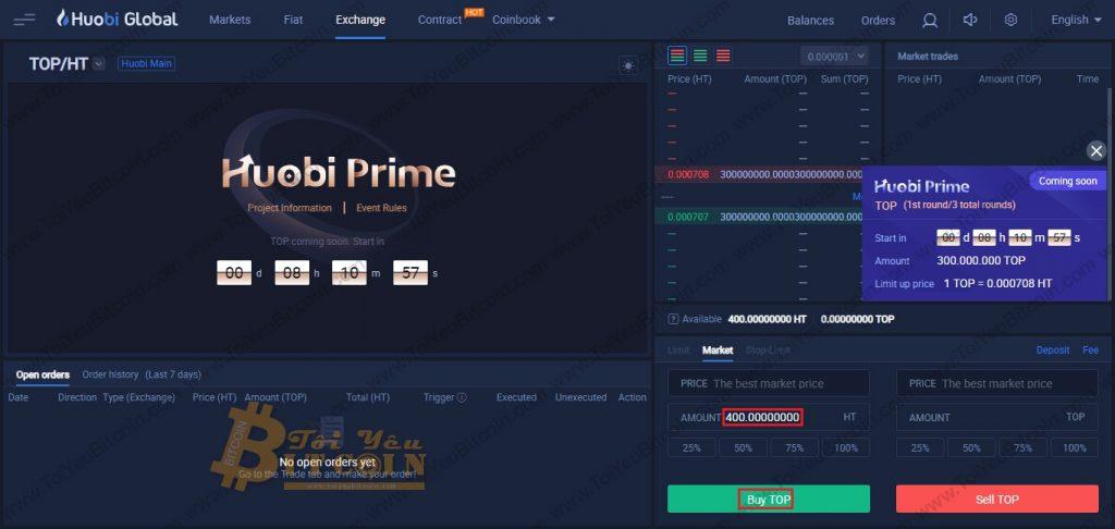Cách mua token trên Huobi Prime. Ảnh 1