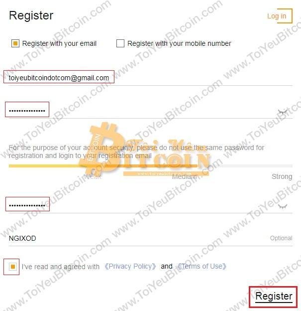 Cách đăng ký tạo tài khoản Coinsuper. Ảnh 1