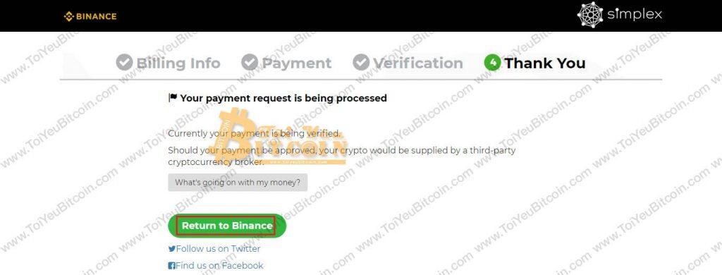 Mua coin bằng thẻ tín dụng Visa/MasterCard trên Binance. Ảnh 9