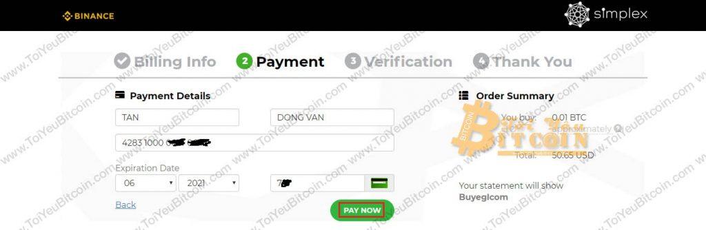 Mua coin bằng thẻ tín dụng Visa/MasterCard trên Binance. Ảnh 7