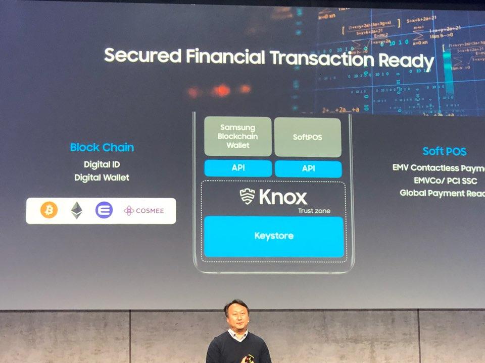 Logo của Enjin Coin, cùng với Bitcoin, Ethereum và Cosmee xuất hiện trong bài giới thiệu về Blockchain KeyStore của Samsung