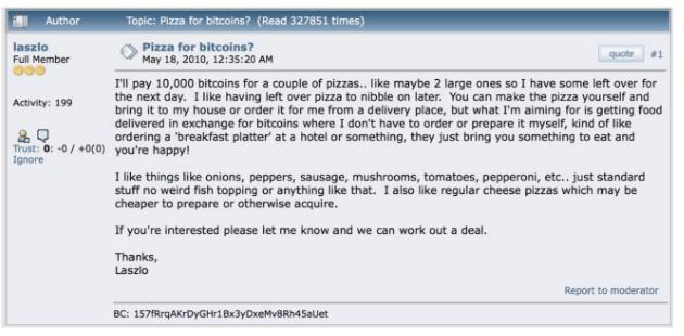 Bài đăng của Laszlo Hanyecz, Bitcoin Pizza Guy, vào năm 2010.