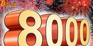 Giá Bitcoin vượt $8,000, đạt đỉnh trong gần 10 tháng