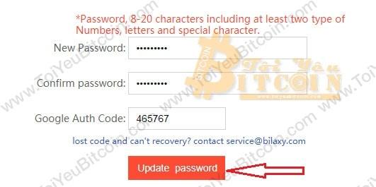 Thiết lập mật khẩu trading trên Bilaxy. Ảnh 2
