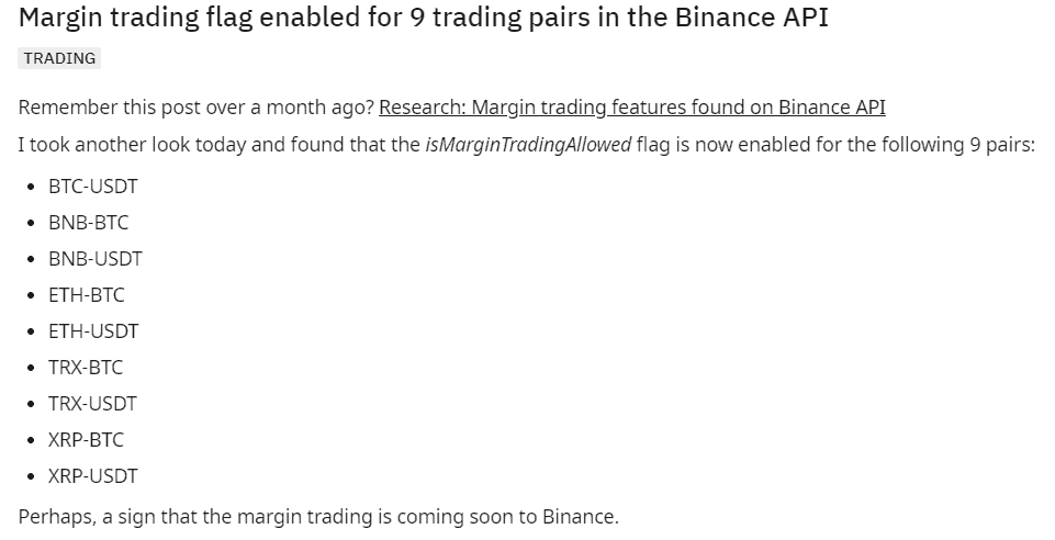 Research: Margin trading features found on Binance API (Nguồn: Reddit).