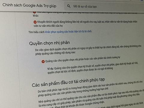 Google cấm quảng cáo giao dịch nhị phân nhưng công ty này vẫn bỏ qua luật lệ do chính mình đặt ra. Quảng cáo của Binomo vẫn có mặt trên nền tảng này hai năm qua.