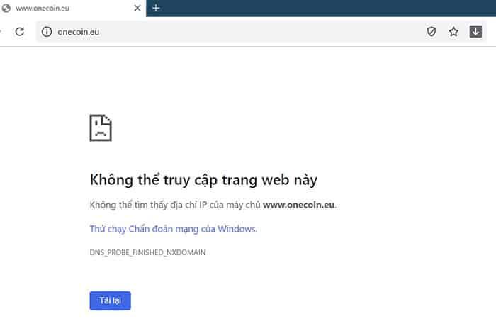 Hôm nay, trang web của OneCoin không thể truy cập.
