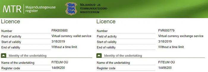 Hai giấy phép quy định được cấp bởi chính quyền Estonia. Nguồn: mtr.mkm.ee