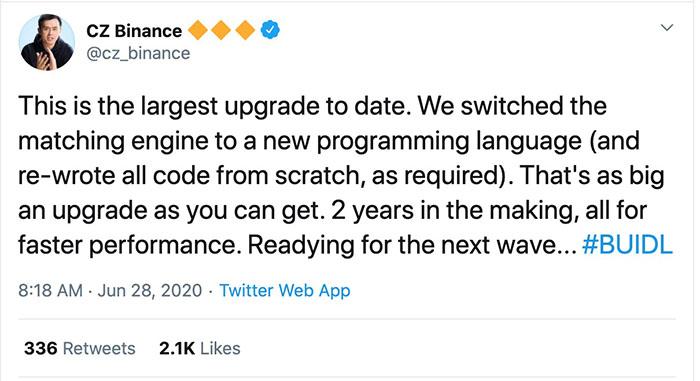 Nguồn: CZ Binance Tweet